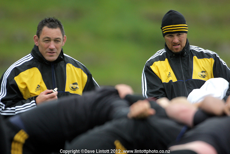 Hurricanes forwards coaches Mark Hammett and Richard Watt during the  Hurricanes Super 15 rugby training at Rugby League Park, Wellington, New Zealand on Wednesday, 21 March 2012. Photo: Dave Lintott / lintottphoto.co.nz