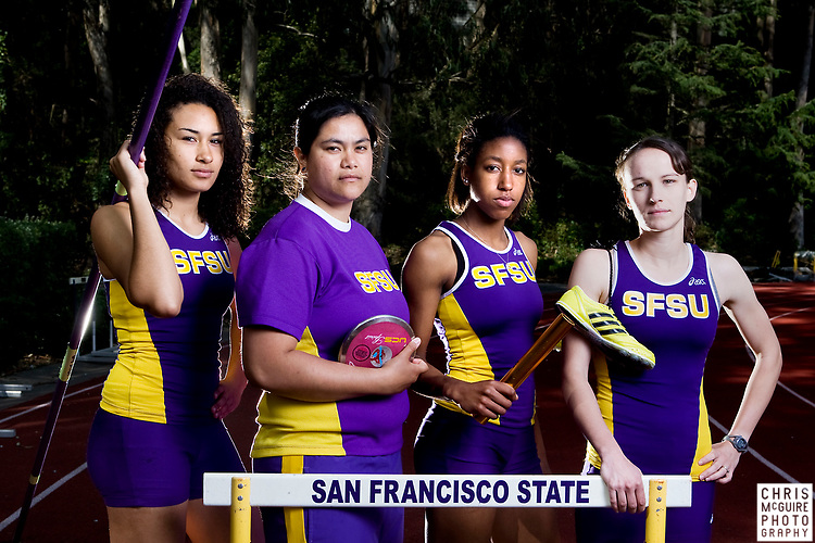 SFSU Track Team members pose for portraits at the SFSU track on Wednesday, March 18, 2008.  (Christopher McGuire)
