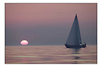 The Clipper Around the World Race 2000..Portsmouth Clipper enjoys a quiet sunset in the English Channel...Marc Turner / PFM.www.pfmpictures.co.uk
