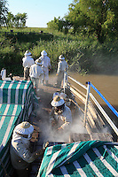 Under general attack by the bee, the unloading and setting up of the hives has to be done very quickly. En masse, the bees have left the hives, left open because of the heat.