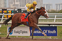 Union Rags and jockey Julien Laparoux score an easy victory in the Fountain of Youth Stakes(G2) at Gulfstream Park. Hallandale Beach, Florida. 02-26-2012