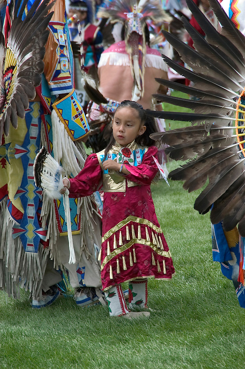 WY: Wyoming, Cody: Dancing at Plains Indian June Powwow...Photo #: yellow558..Photo copyright Lee Foster, 510/549-2202, lee@fostertravel.com, www.fostertravel.com..