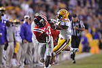 Ole Miss wide receiver Vince Sanders (10) makes a catch against LSU cornerback Jalen Collins (32) at Tiger Stadium in Baton Rouge, La. on Saturday, November 17, 2012. LSU won 41-35.....