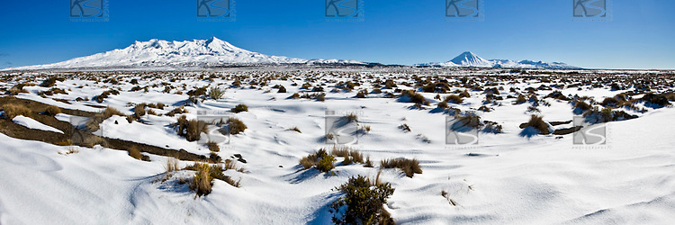 Mounts Ruapehu, Ngauruhoe & Tongariro from the Rangipo Desert, Tongariro National Park.