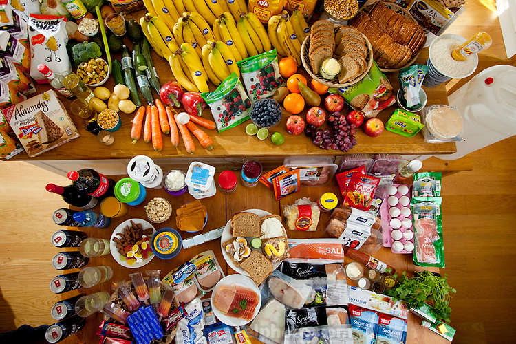 A partial view of a week's worth of food of the Glad-Ostensen family in Gjerdrum, Norway in June. Food expenditure for one week: 4265.89 Norwegian Kroner;  $731.71 USD. Model-Released.