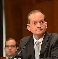 Washington DC, March 22, 2017, USA:  Alexander Acosta testifies at his confirmation hearing to become the next Secretary of Labor  He was testifying in front of the Senate Labor Committee on Capitol Hill in Washington DC.  Photo by Patsy Lynch/MediaPunch