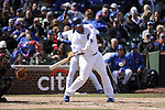 CHICAGO - APRIL  05:  Marlon Byrd #24 of the Chicago Cubs bats against the Arizona Diamondbacks on April 5, 2011 at Wrigley Field in Chicago, Illinois.  The Cubs defeated the Diamondbacks 6-5.  (Photo by Ron Vesely) Subject: Marlon Byrd..