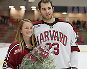 David Valek (Harvard - 23) and girlfriend - The Harvard University Crimson honored their seniors following their final home game of the regular season on Saturday, February 22, 2014 at the Bright-Landry Hockey Center in Cambridge, Massachusetts.