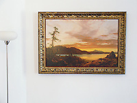 Reproduction of Sunset by Frederic Edwin Church <br /> Image Dims: 28&quot; x 42&quot; Framed Dims: 36&quot; x 50&quot;  Frederic Edwin Church (1826 - 1900) was an American landscape painter, who was part of the Hudson River School movement.