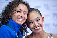"""September 09, 2015 - Stuttgart, Germany - (L-R) LAURA ZENG with coach ANGELINA YOVCHEVA of USA at """"kiss & cry"""" just after Laura performing in AA qualifications at 2015 World Championships."""