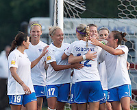 Boston Breakers forward Katie Schoepfer (2) celebrates third of three goals with teammates. In a Women's Premier Soccer League Elite (WPSL) match, the Boston Breakers defeated Western New York Flash, 3-2, at Dilboy Stadium on May 26, 2012.