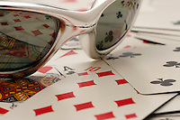 17 May 2005: Poker, playing, cards,sunglasses, Ace, A, K, Q, J, board, game, stock, closeup, texture, Sports Ball graphic detail, illustration, product, art, clean, white background. Ready for all uses. International Sport.  Mandatory Credit:  Shelly Castellano
