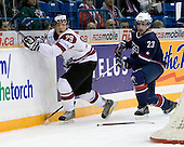 Ralfs Freibergs (Latvia - 29), Kyle Palmieri (USA - 23) - Team USA defeated Team Latvia 12-1 on Tuesday, December 29, 2009, at the Credit Union Centre in Saskatoon, Saskatchewan, during the 2010 World Juniors tournament.