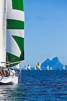 Yachts racing in the first leg of the Tahiti Pearl Regatta, from Raiatea to Bora Bora