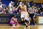 04 February 2016: Duke's Rebecca Greenwell. The Duke University Blue Devils hosted the University of Virginia Cavaliers at Cameron Indoor Stadium in Durham, North Carolina in a 2015-16 NCAA Division I Women's Basketball game. Both teams wore pink as part of the annual Play4Kay game in support of the Kay Yow Cancer Fund. Duke won the game 67-52.