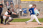 Vale catcher Austin Tolman watches Nyssa's Rocky Garcia foul off a pitch during the fourth inning of the second game of a doubleheader between Vale and Nyssa on April 15, 2011. Garcia would walk and then score Nyssa's only run on a RBI double by Zach Stratton as they fell to Vale 6-1.