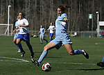 North Carolina's Yael Averbuch takes a shot on Saturday, March 3rd, 2007 on Field 1 at SAS Soccer Park in Cary, North Carolina. The Duke University Blue Devils played the University of North Carolina Tarheels in an NCAA Division I Women's Soccer spring game.
