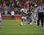 Auburn wide receiver Emory Blake (80) is tackled by Ole Miss' Charles Sawyer (3) at Jordan-Hare Stadium in Auburn, Ala. on Saturday, October 29, 2011. .