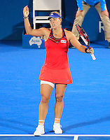 Angelique Kerber of Germany reacts after missing a point against Tsvetana Pironkova of Bulgaria during their final match at the Sydney International tennis tournament, Jan. 10, 2014.  Daniel Munoz/Viewpress IMAGE RESTRICTED TO EDITORIAL USE ONLY