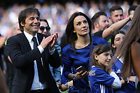 Chelsea Manager, Antonio Conte, enjoys watching the players celebrate alongside his wife, Elisabetta Muscarello and daughter, Vittoria during Chelsea vs Sunderland AFC, Premier League Football at Stamford Bridge on 21st May 2017