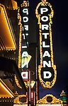 Theatre neon lights Arlene Schnitzer concert hall downtown at night Portland Oregon State USA