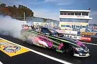Oct 6, 2013; Mohnton, PA, USA; NHRA funny car driver Alexis DeJoria during the Auto Plus Nationals at Maple Grove Raceway. Mandatory Credit: Mark J. Rebilas-