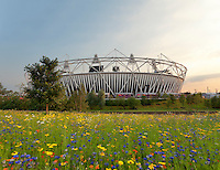 The 80.000 seater Olympic Stadium in Stratford East London is the centre piece of the Olympic Park. The 2012 summer Olympics will be held here from the 27th of July. The landscaping and the sea of wild flowers is quit amazing.<br />