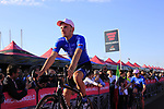 Gazprom Rusvelo at the Team Presentation in Alghero, Sardinia for the 100th edition of the Giro d'Italia 2017, Sardinia, Italy. 4th May 2017.<br /> Picture: Eoin Clarke | Cyclefile<br /> <br /> <br /> All photos usage must carry mandatory copyright credit (&copy; Cyclefile | Eoin Clarke)