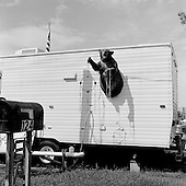 Waveland, Mississippi.USA.July 30, 2006..A stuffed bear on the side of a FEMA trailer in Waveland, Mississippi a coastal city nearly wiped off the map one year ago after being hit by  hurricane Katrina. .