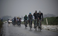 Dwars Door Vlaanderen 2013.breakaway group riding the Holleweg