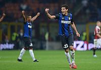 FUSSBALL INTERNATIONAL   SERIE A   SAISON  2012/2013   7. Spieltag AC Mailand  - Inter Mailand                     07.10.2011 SCHLUSSJUBEL Inter; Andrea Ranocchia