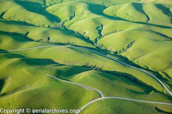 aerial photograph Sonoma mountain hills in winter, Petaluma, Sonoma county, California
