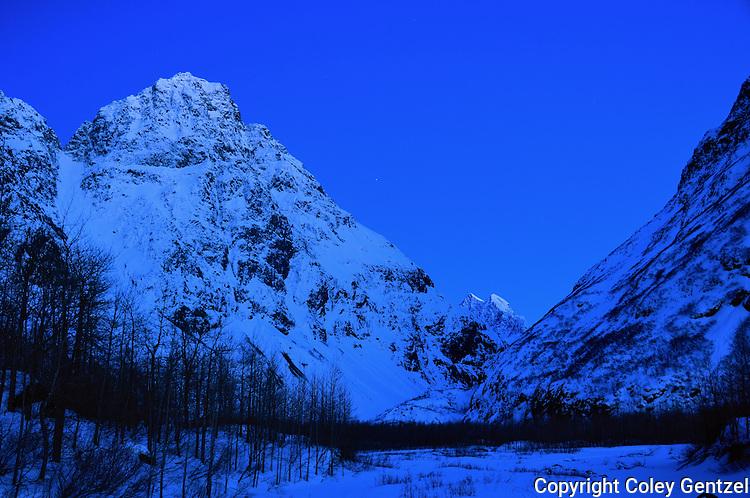 Mitre Peak at the east end of Eklutna Lake, Alaska.