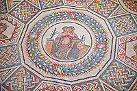 Roman Mosaic from the Cubilcle with Erotic Scene, room 24, at the Villa Romana del Casale which containis the richest, largest and most complex collection of Roman mosaics in the world. Constructed in the first quarter of the 4th century AD. Sicily, Italy. A UNESCO World Heritage Site.