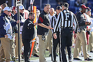Annapolis, MD - December 3, 2016: Temple Owls head coach Matt Rhule talks to the referee during game between Temple and Navy at  Navy-Marine Corps Memorial Stadium in Annapolis, MD.   (Photo by Elliott Brown/Media Images International)