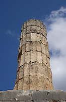 DELPHI, GREECE - APRIL 12 : A low angle view of a Doric column of the peristasis of the Temple of Apollo, on April 12, 2007 in the Sanctuary of Apollo, Delphi, Greece. The ruins of the Temple of Apollo belong to the 4th century BC, the third temple built on the site and completed in 330BC. Its architects were the Corinthians Spintharos Xenodoros and Agathon. (Photo by Manuel Cohen)