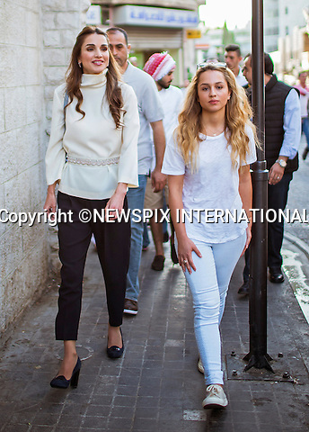 16.08.2015; Amman, Jordan: QUEEN RANIA AND DAUGHTER PRINCESS IMAN<br />participated in an evening walk around Rainbow Street in Jabal Amman with the Out and About group.<br />18-year-old Princess Iman bint Abdullah is the eldest daughter of the King and Queen of Jordan and is currently attending Georgetown University in Washington, D.C<br />Out and About which was founded in 2010 in Jordan, is a positive change organization which mimics the intellectual changes as well as community, cultural and modern changes. The group promotes global citizenship messages through the practical application of the five main principles of the group, namely: love, peace, acceptance, tolerance, forgiveness and generosity.<br />Mandatory Photo Credit: &copy;Royal Hashemite Court/NEWSPIX INTERNATIONAL<br /><br />**ALL FEES PAYABLE TO: &quot;NEWSPIX INTERNATIONAL&quot;**<br /><br />PHOTO CREDIT MANDATORY!!: NEWSPIX INTERNATIONAL(Failure to credit will incur a surcharge of 100% of reproduction fees)<br /><br />IMMEDIATE CONFIRMATION OF USAGE REQUIRED:<br />Newspix International, 31 Chinnery Hill, Bishop's Stortford, ENGLAND CM23 3PS<br />Tel:+441279 324672  ; Fax: +441279656877<br />Mobile:  0777568 1153<br />e-mail: info@newspixinternational.co.uk