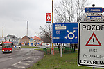 Traffic circle and Czech road signs, southern Bohemia, Czech Republic