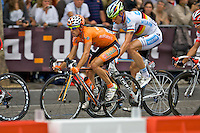 Professional Euskaltel team cyclist, Alan Perez Lezaun, cycling along the Champ Elysees in Paris during the 2010 Tour de France