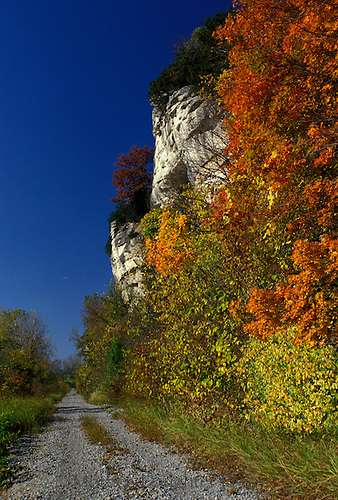 MKT trail with bluffs in autumn colors and walking - bike trail on gorgeous day
