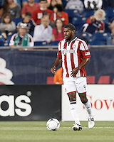 Chivas USA defender Rauwshan McKenzie (4) looks to pass. In a Major League Soccer (MLS) match, the New England Revolution tied Chivas USA, 3-3, at Gillette Stadium on August 29, 2012.