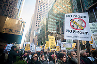 Several hundred activists rally in front of Trump Tower in New York on Sunday, December 20, 2015 protesting against the various anti-immigration rhetoric of U.S. Presidential candidate Donald Trump.  (© Richard B. Levine)