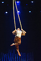 London, UK. 11.07.2013. Southbank Centre presents TIMBER! by Cirque Alfonse. Three generations of Quebecois circus family premiere their UK debut show. Picture shows: Julie Carabinier-Lepine. Photograph © Jane Hobson.