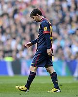 FUSSBALL  INTERNATIONAL  PRIMERA DIVISION  SAISON 2012/2013   26. Spieltag  El Clasico   Real Madrid  - FC Barcelona        02.03.2013 Lionel Messi (Barca) enttaeuscht