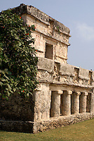 Temple of the Frescos at the Mayan ruins of Tulum on the Riviera Maya, Quintana Roo, Mexico..