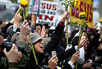 Supporters and members of the gay and lesbian community cheer when same-sex couples walk out of City Hall with their marriage licenses, in San Francisco, CA, on Monday, June 16, 2008. Same sex marriage supports meet protestors at San Francisco's City Hall as the city reopens marriage licenses to same sex couples.