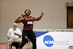 NAPERVILLE, IL - MARCH 11: Monique Newton of Oberlin College competes in the shot put during the Division III Men's and Women's Indoor Track and Field Championship held at the Res/Rec Center on the North Central College campus on March 11, 2017 in Naperville, Illinois. (Photo by Steve Woltmann/NCAA Photos via Getty Images)