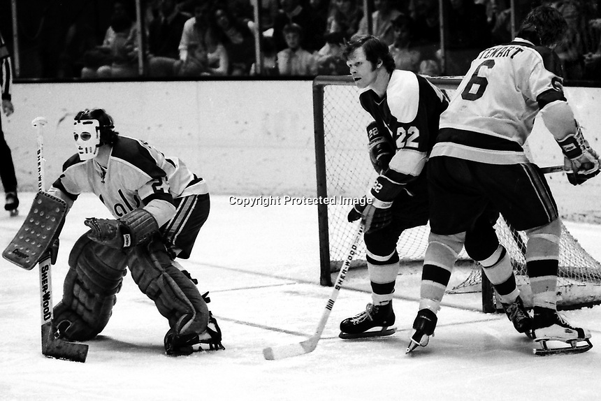Seals vs North Stars , goalie Gilles Meloche and Bob Stewart fend off Stars Dennis Hextall. (1975 photo by Ron Riesterer)
