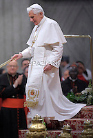 Pope Benedict XVI during an audience to the members of the Caritas Italiana on the occasion of its 40th anniversary on November 24, 2011 at St Peter's basilica at The Vatican.