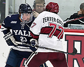 Charlie Curti (Yale - 23), Lewis Zerter-Gossage (Harvard - 77) - The Harvard University Crimson tied the visiting Yale University Bulldogs 1-1 on Saturday, January 21, 2017, at the Bright-Landry Hockey Center in Boston, Massachusetts.